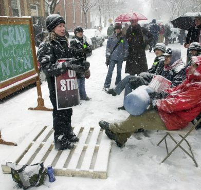 A scene from the 2003 Yale graduate student strike.