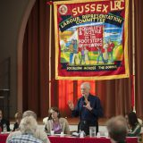 """Jeremy Corbyn speaks at at a Sussex Labour Representation Committee meeting on """"War, Peace & Internationalism"""" in 2014. Sussex LRC / Flickr"""