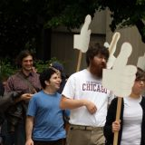 Graduate workers protesting at the University of Chicago in 2009. Quinn Dombrowski / Flickr
