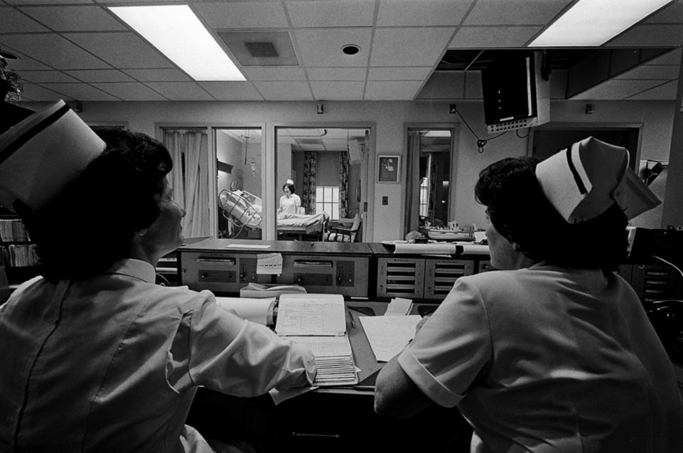 An intensive care unit in Waltham, MA in 1977. Boston Public Library