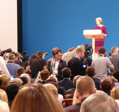 British prime minister Theresa May speaks at the Conservative Party's annual conference last week. Chorley Conservatives / Flickr