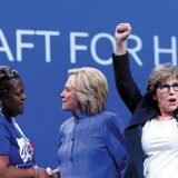 Hillary Clinton at the American Federation of Teachers convention this year, alongside celebrating AFT president Randi Weingarten.