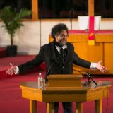 Cornel West speaking at the Allen Temple Baptist Church in Oakland, CA in 2015. Samuel Merrit University