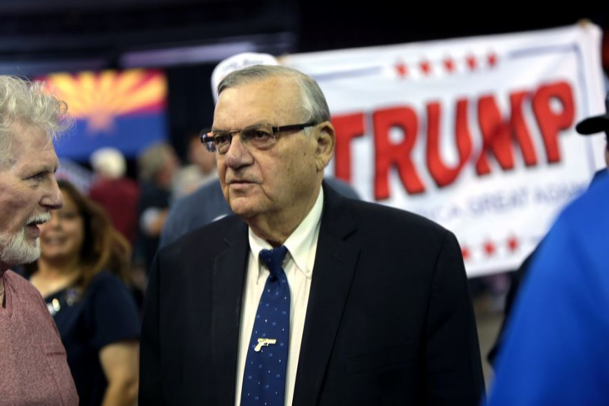 Joe Arpaio at a campaign rally for Donald Trump in October 2016. Gage Skidmore
