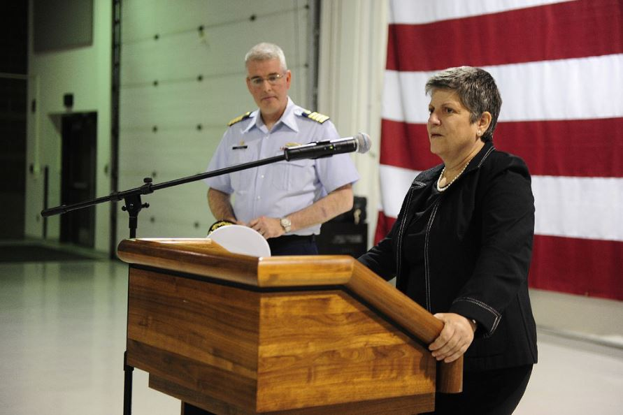 Janet Napolitano speaking in Anchorage, Alaska in 2013. Coast Guard News / Flickr