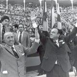 Manuel Fraga (right) with Carlos Arias Navarro in 1977.  TVE