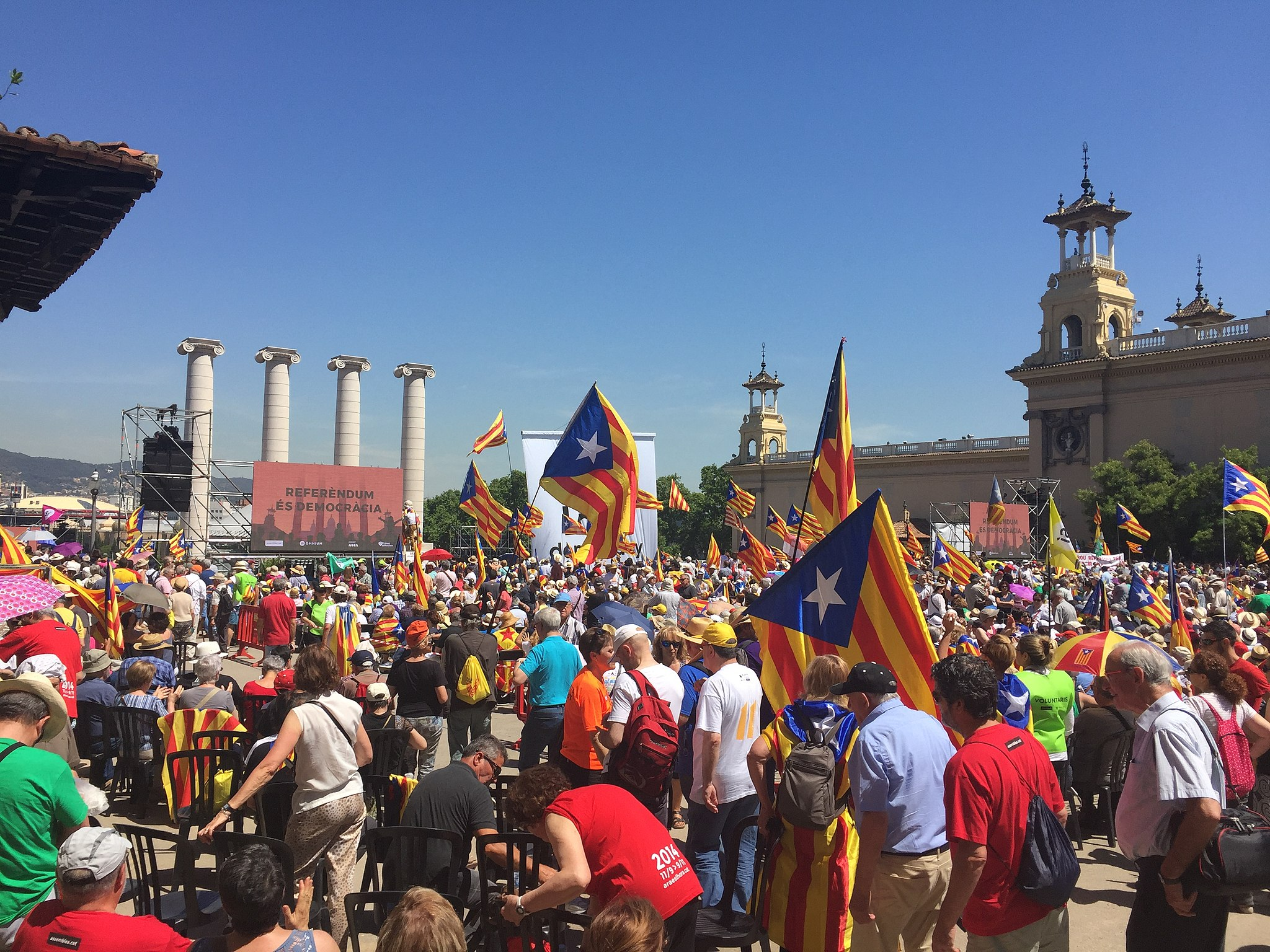 Protest at Catalan court over officials detained in independence dispute