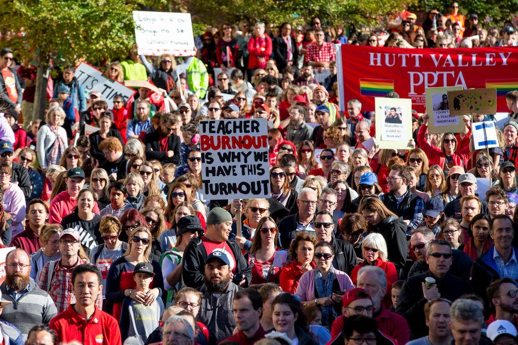 Image result for jacinda ardern teachers unions nurses