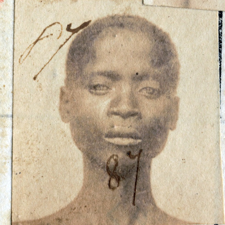 Gandor, 18 years old, son of Aoliath. Liberated at Port Victoria on the 7 October 1871 (H.M. Ship Columbine). Registered under no. 87 on the 13 October 1871.Assigned to V. MorinPhotographer unknownAlbumen printPort Victoria, Seychelles 1871