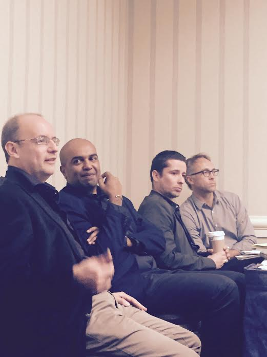 Former Mamdani students: Juan Obario, Suren Pillay, Manuel Scwhab and Adam Branch. Image: Sean Jacobs