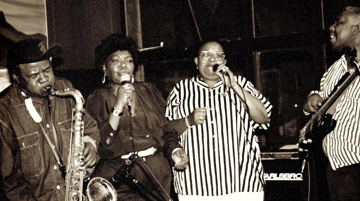 Winston Mankunku Ngozi, Thandi Klaasen, Sibongile Khumalo and Spencer Mbadu at Manenberg's Jazz Cafe in Cape Town